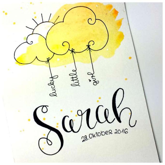 Handlettering  - Letter Lovers maryluskleinekunst: Letterin Sarah - Geburt