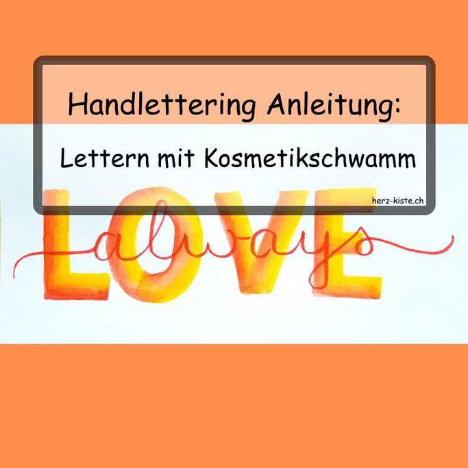 Handlettering Anleitung: Lettern mit einem Kosmetikschwamm