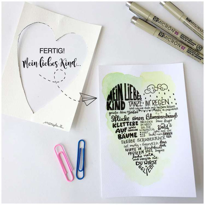 """Letter Lovers maryluskleinekunst: Anleitung für eine Herzkarte """"Mein liebes Kind"""" - fertiges Bild"""