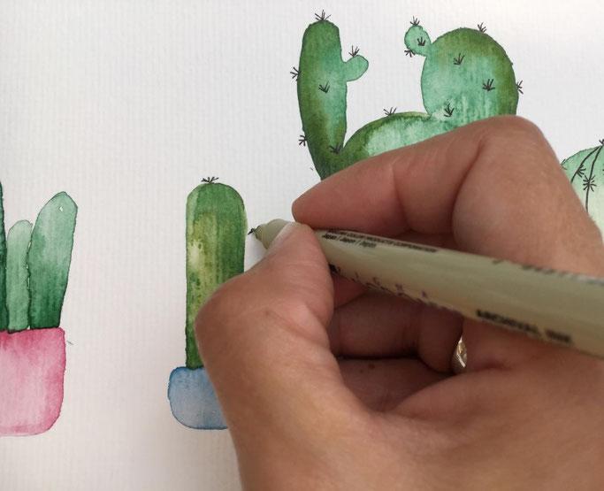 Watercolor Kakteen - Handlettering Anleitung zum selber machen (Letter Lovers herzimbauch)