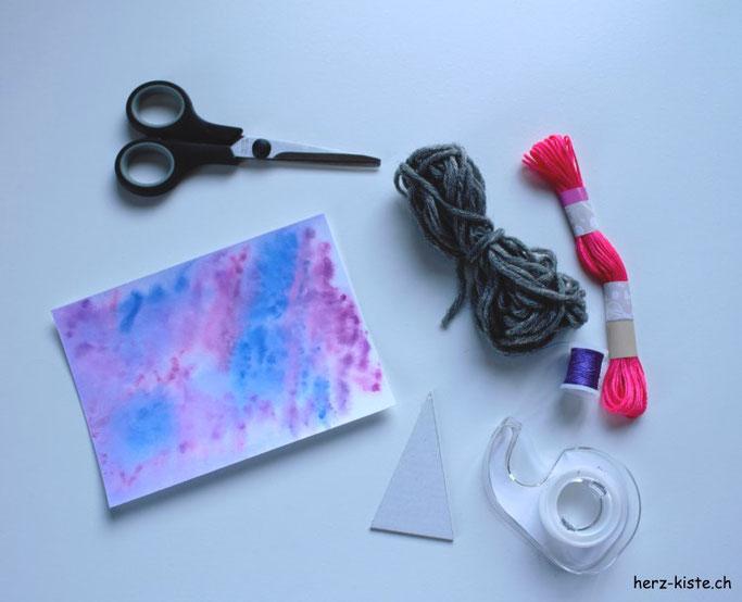 Material für eine DIY Weihnachtskarte