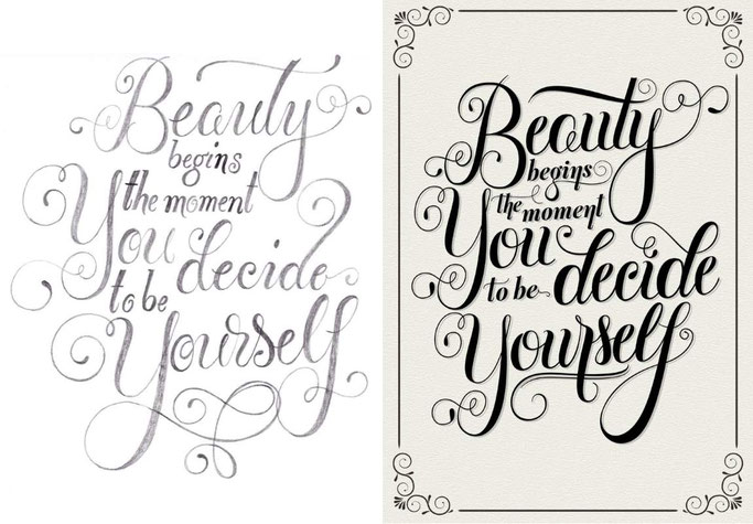 Letter Lovers sandra_graphics - Lettering: Beauty begins the moment you decide to be yourself