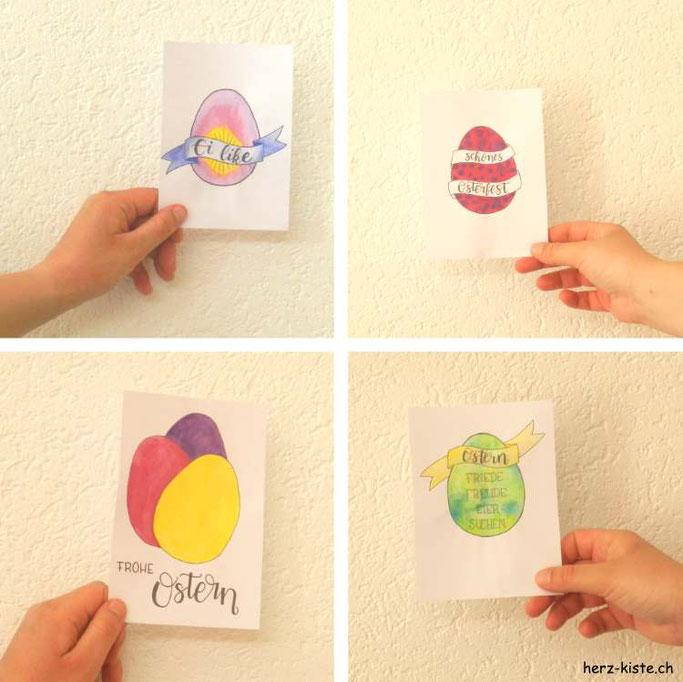 DIY Osterkarten: Gratis Printable ausdrucken, bemalen und verschenken