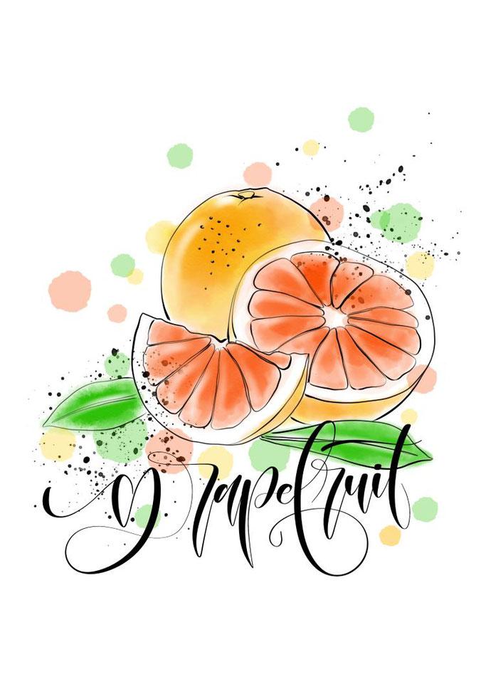 Lettering mit Bild - grapefruit (Letter Lovers mel_lettering)