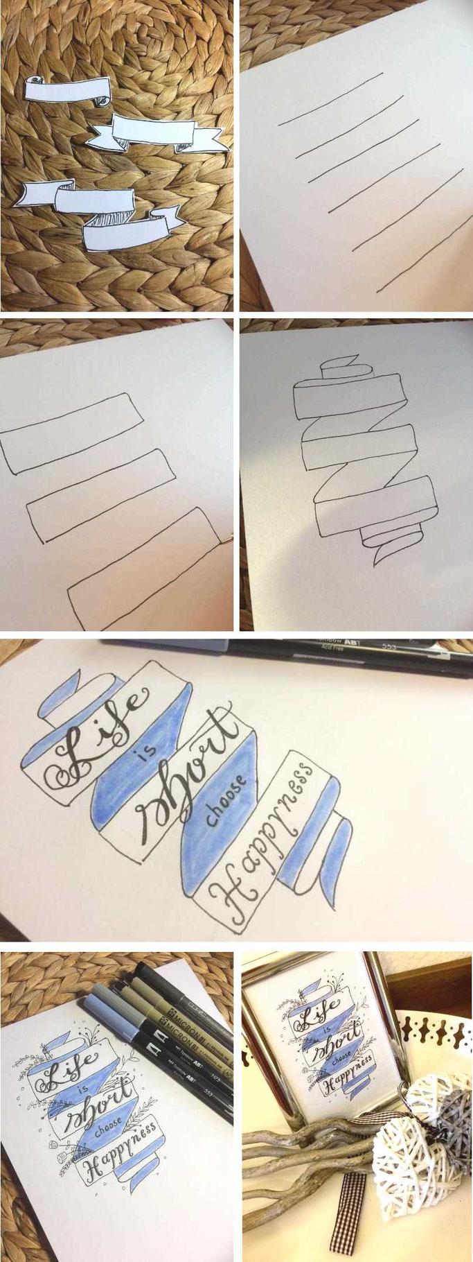 Handlettering Anleitung: Wie du Banner zeichnest um dein Handlettering aufzuwerten
