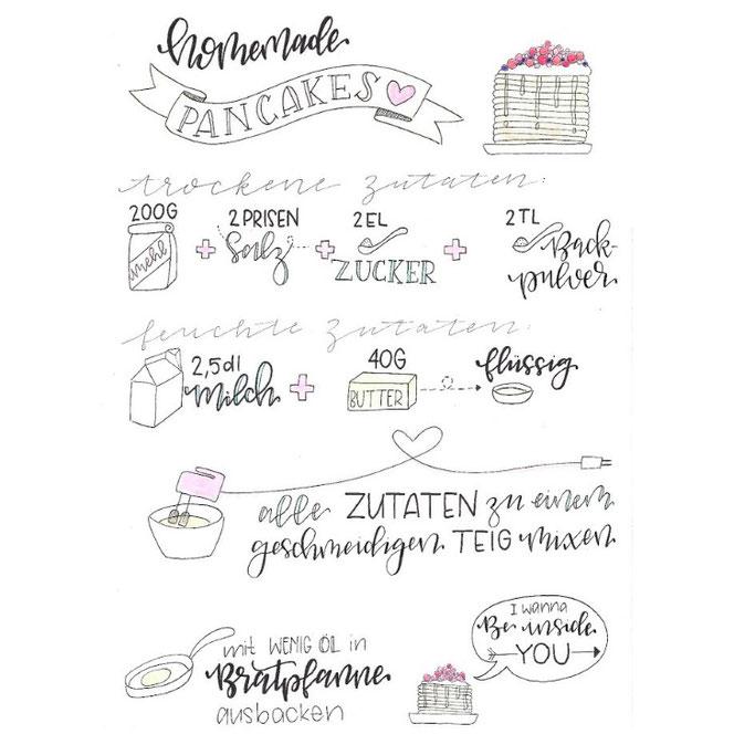 Letter Lovers donnerletter: Handlettering Rezept: homemade Pancakes