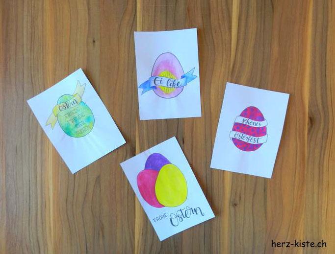 Osterkarten im Handlettering Stil: Free Printable zum ausdrucken und selber verschönern