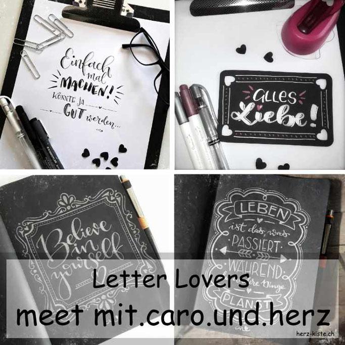 Letter Lovers: mit.caro.und.herz zu Gast in der Herz-Kiste inklusive einer Anleitung um Geschenkanhänger selber zu machen und zu Lettern