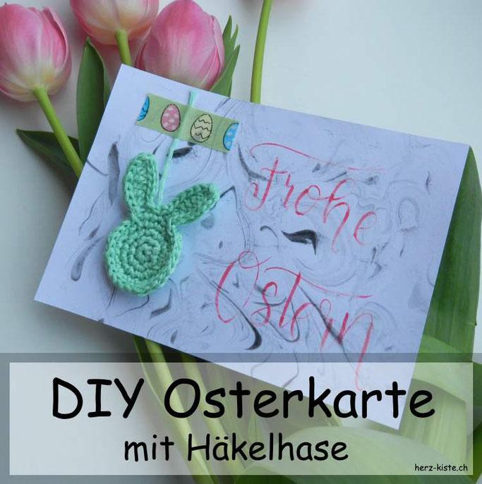 DIY Idee: Osterkarte mit einem gehäkelten Hasen - einfache Idee zum selbermachen