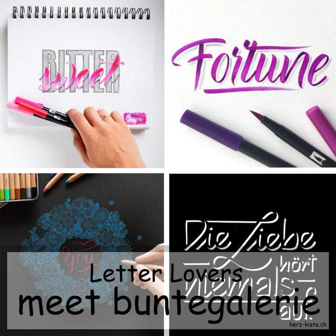 Letter Lovers in der Herz-Kiste: buntegalerie zu Gast mit einer Anleitung für 3D-Buchstaben Lettering