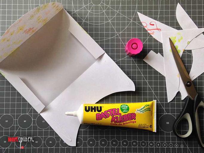 Letter Lovers Wortspuren: Anleitung Umschlag aus Schmierpapier mit Gratis Vorlage