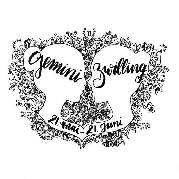 Letter Lovers stickynote.lettering: Handlettering Gemini - Zwilling