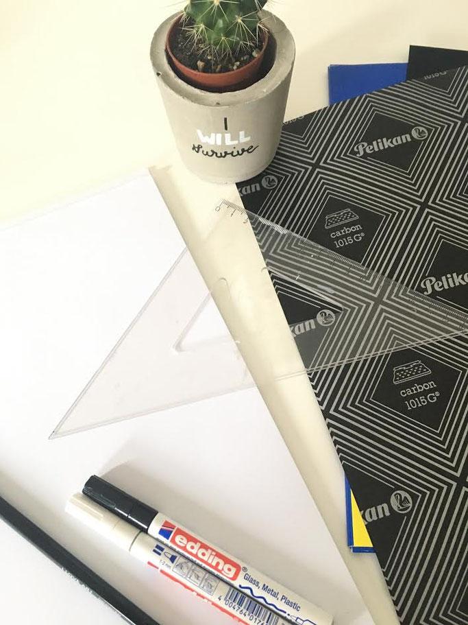 Letter Lovers annakalligraphie: Anleitung Lettering auf einen Blumentopf - Material