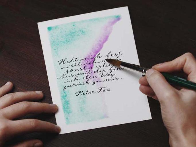 Letter Lovers vierneuntel: Anleitung Zitat mit Aquarell Hintergrund - Farbverlauf