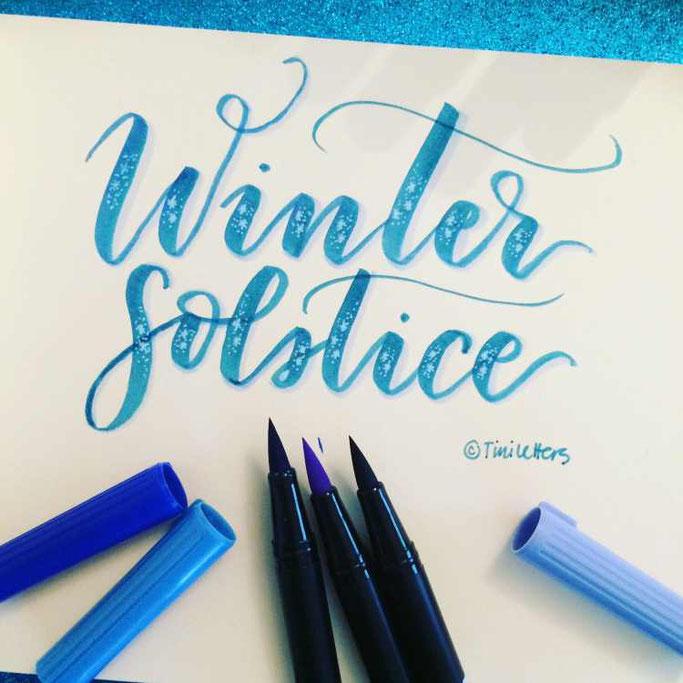 Letter Lovers tiniletters: Handlettering Winter solstice