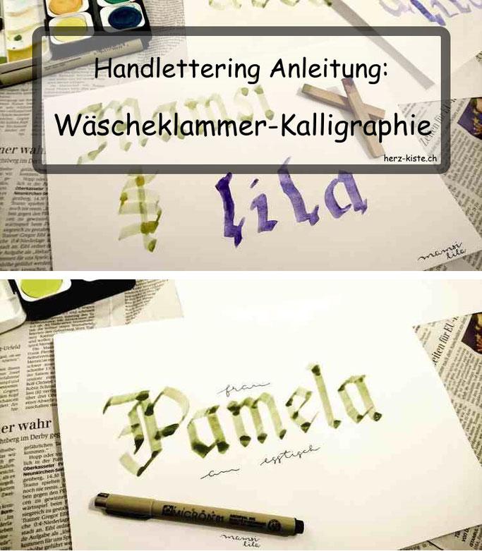 Handlettering Anleitung: Wäscheklammer Kalligraphie - Frakturschrift ohne teure Stifte