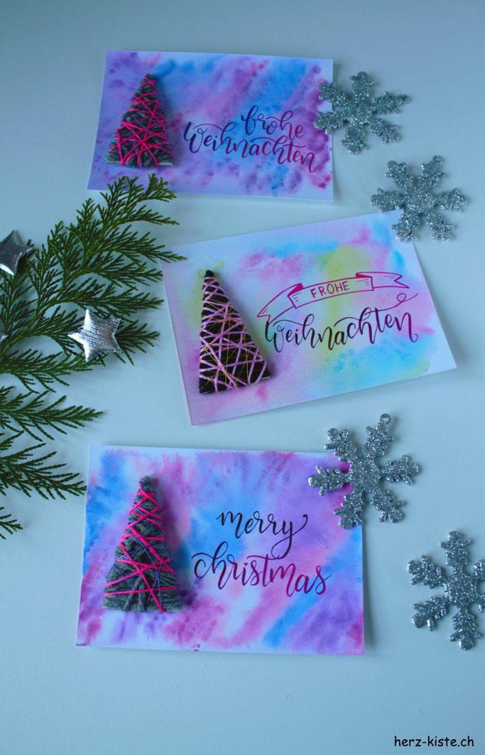 DIY Weihnachtskarte selbermachen - einen Tannenbaum umwickeln und Freude verschenken zu Weihnachten
