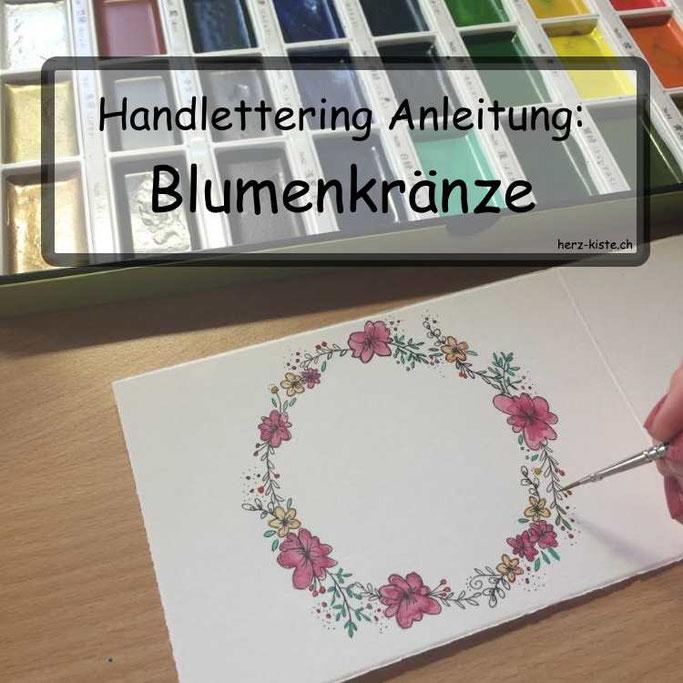 Handlettering Anleitung: Blumenkränze malen