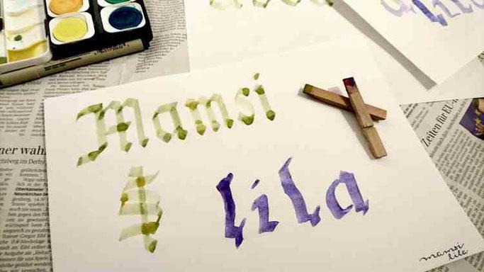 Letter Lovers mamsi.lila: Wäscheklammerkalligraphie Anleitung