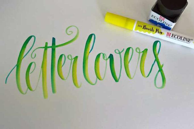 Letter Lovers st__ee: Anleitung Farbmischeffekt mit den Ecoline Wasserfarben
