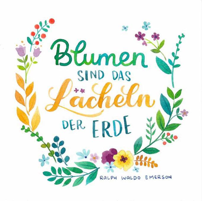Letter Lovers frau_annika: Handlettering Spruch - Blumen sind das Lächeln der Erde