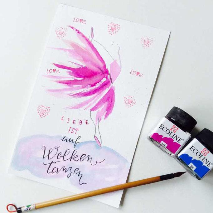 Letter Lovers tradonde: Handlettering Spruch Liebe ist auf Wolken tanzen