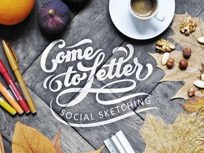 Letter Lovers robert_lettering: Handlettering Spruch Come to Letter - Social Sketching