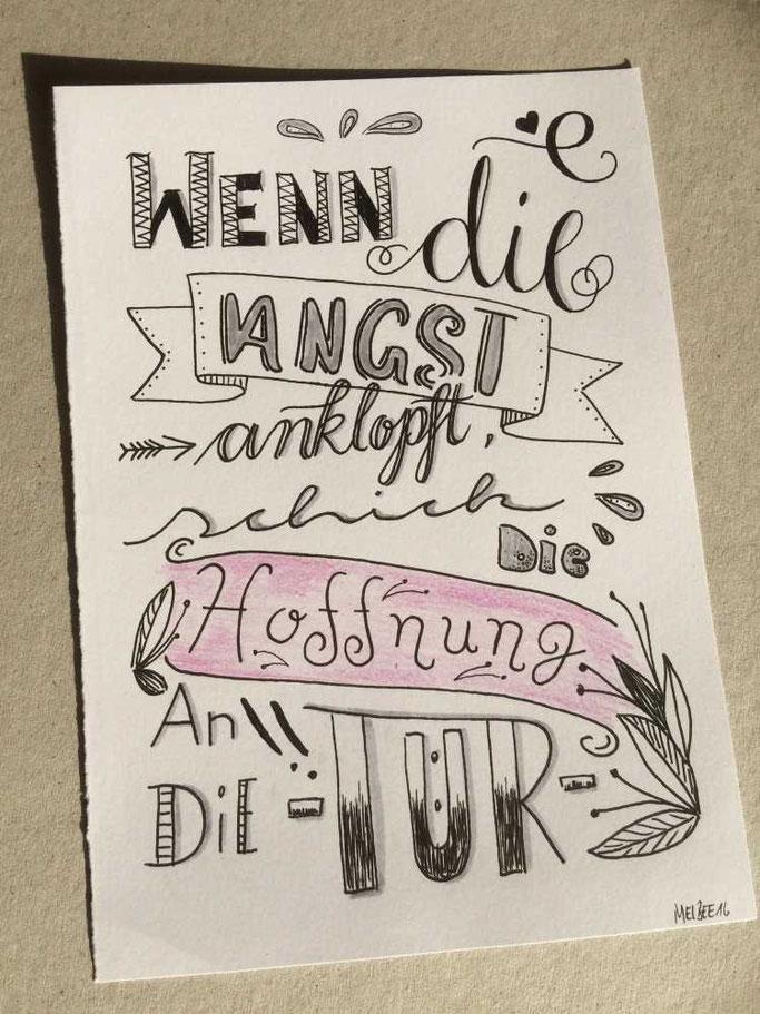 Letter Lovers aponi72: Handlettering Wenn die Angst anklopft, schick die Hoffnung an die Tür