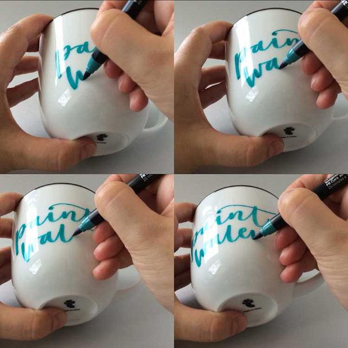 Letter Lovers frau_annika: Anleitung zum belettern einer Tasse - Lettering DIY