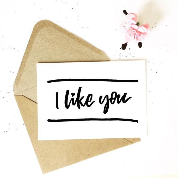 I like you - Zitat im Handlettering Stil von lettering_by_mj