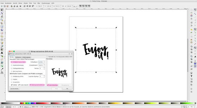 Lettering Vektorisieren - eine einfache Anleitung mit Inkscape (Schritt 3 - Helligkeit)