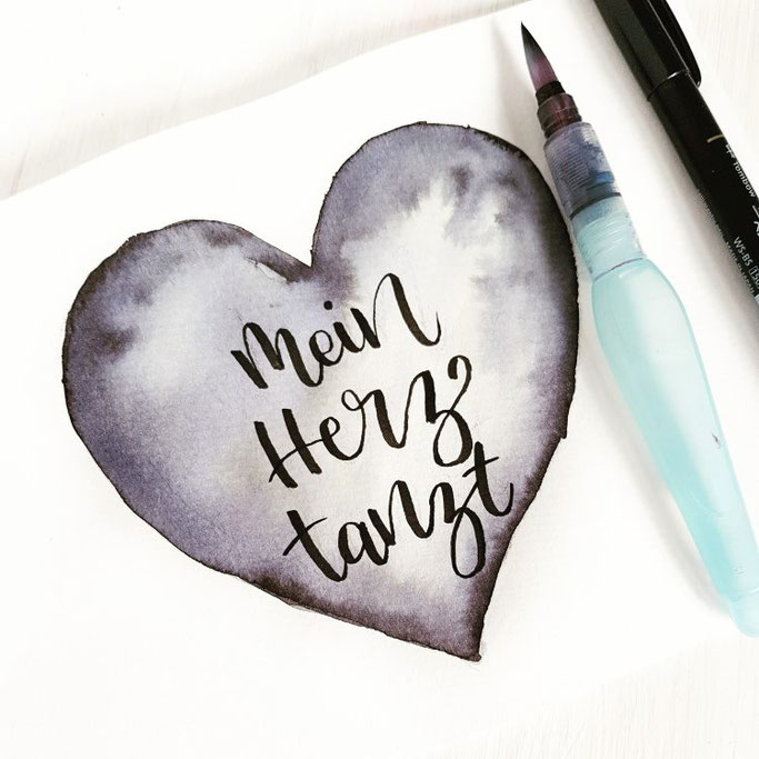 Lettering mit Aquarell Herz - Mein Herz brennt (frl.stucki bei den Letter Lovers)