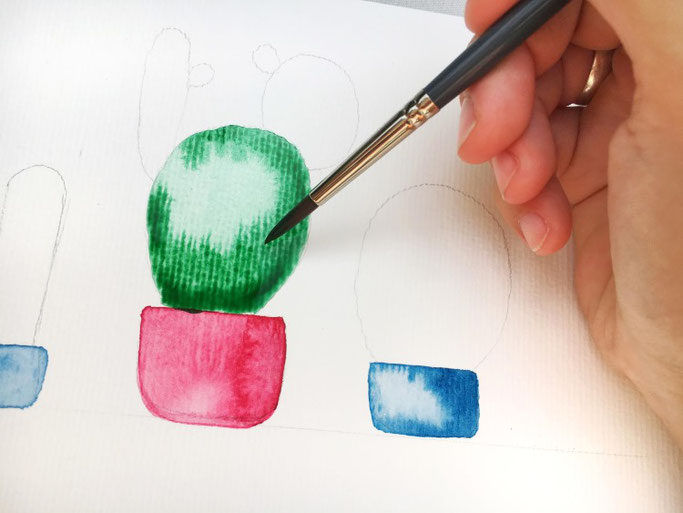 Handlettering Anleitung für Watercolor Kakteen (Letter Lovers herzimbauch)