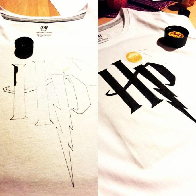 DIY Handlettering Anleitung: Harry Potter Logo HP auf ein T-Shirt lettern
