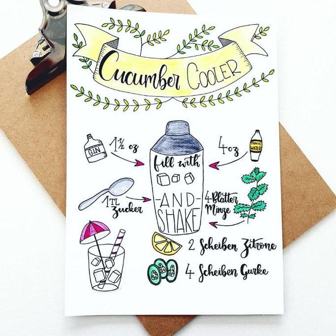Lettering Rezept - Cucumber Cooler mit Doodles (Letter Lovers letteritoutloud)