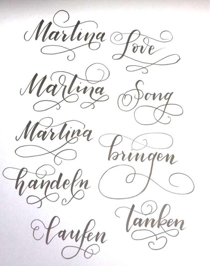Letter Lovers tiniletters: Handlettering Anleitung Schnörkel