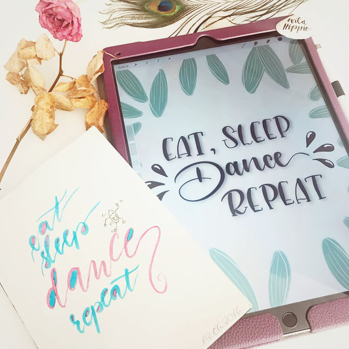 Letter Lovers wildhippiecom: Handlettering Fortschritt: eat, sleep, dance, repeat