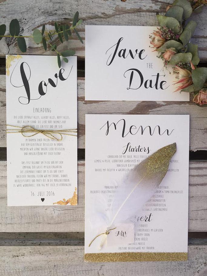 Letter Lovers annakalligraphie: Handletering Hochzeitseinladung, Save the date und Menukarte