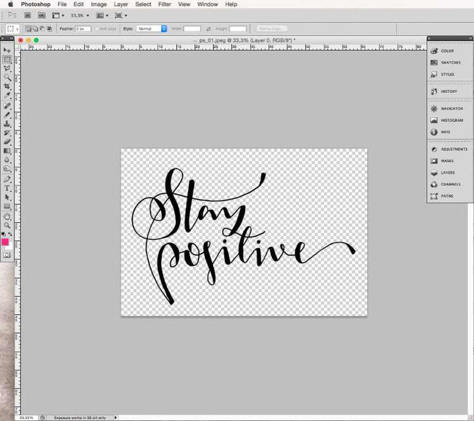 Lettering digitalisieren mit Photoshop - freistellen