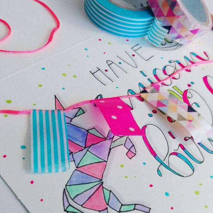 Lettering Anleitung - Geburtstagskarte mit Washi-Wimpeln aufpeppen