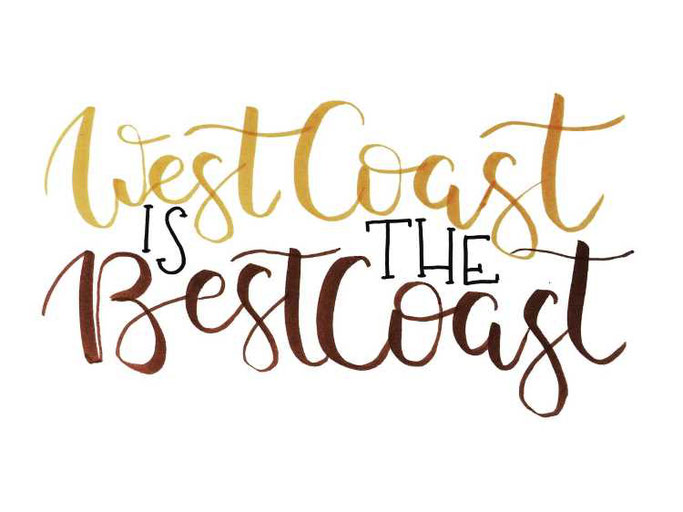 Letter Lovers buchstabenprinzessin: Handlettering Spruch West coast is the best coast
