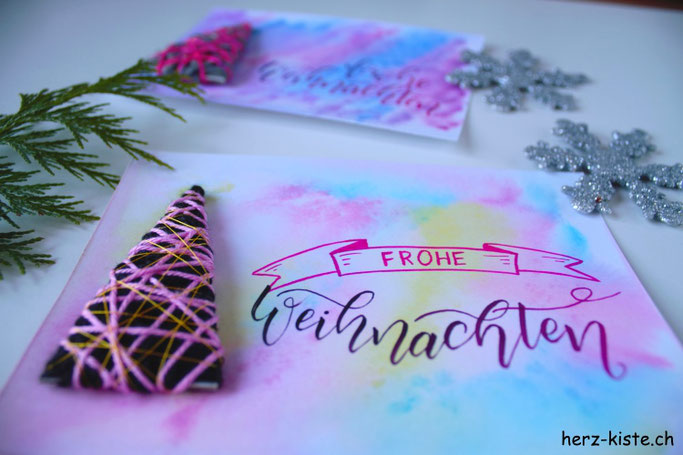 DIY Anleitung für eine Weihnachtskarte mit umwickeltem Tannenbaum - Frohe Weihnachten!