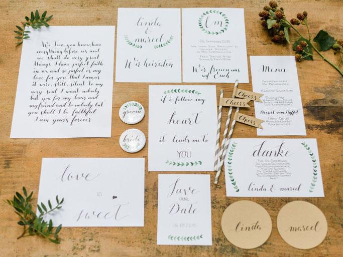 Letter Lovers annakalligraphie: Handlettering Set für eine Hochzeit