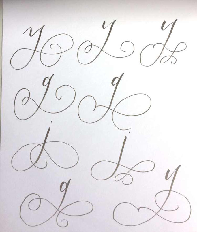 Letter Lovers tiniletters: Handlettering Anleitung Schnörkel y - g - j
