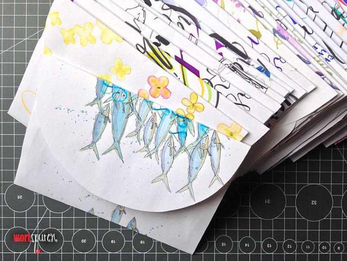 Letter Lovers Wortspuren: Gratis Vorlage für Umschlag aus Schmierpapier