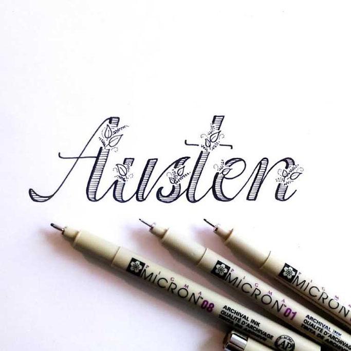 Letter Lovers frauleinausten: Handlettering Austen