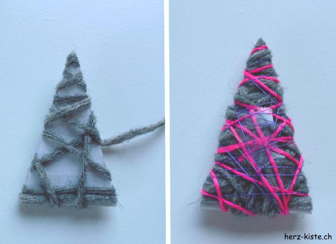 DIY Anleitung für eine Weihnachtskarte mit Tannenbaum: Den Tannenbaum mit Wolle und Garn umwickeln.