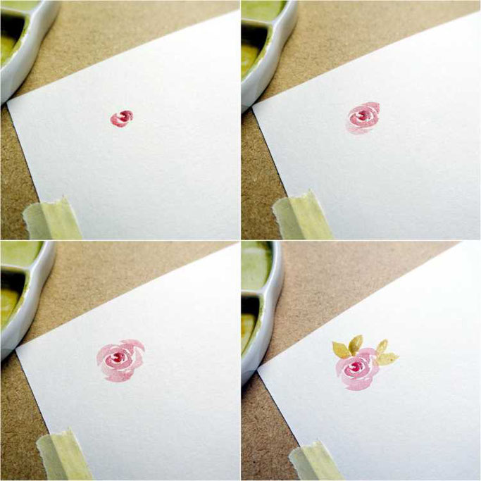 Letter Lovers buntgepinselt: Anleitung für lockere Aquarellblumen - Rosen zeichnen mit einem Pinsel