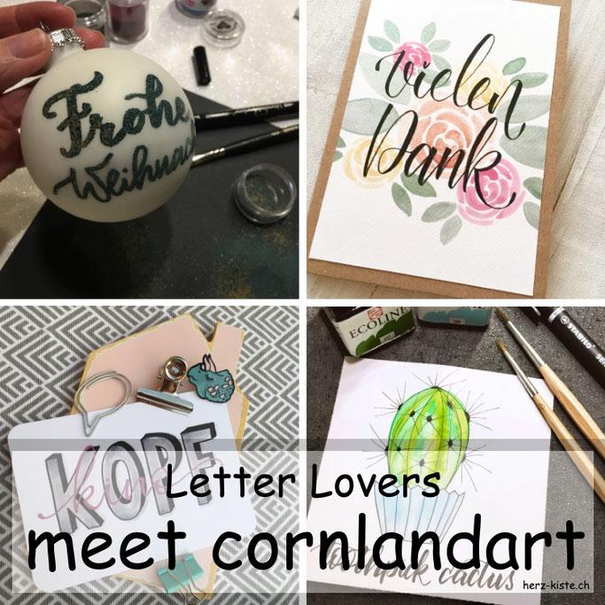 Letter Lovers: cornlandart zu Gast im Lettering Interview mit einer Anleitung für Embossing auf Weihnachtskugeln