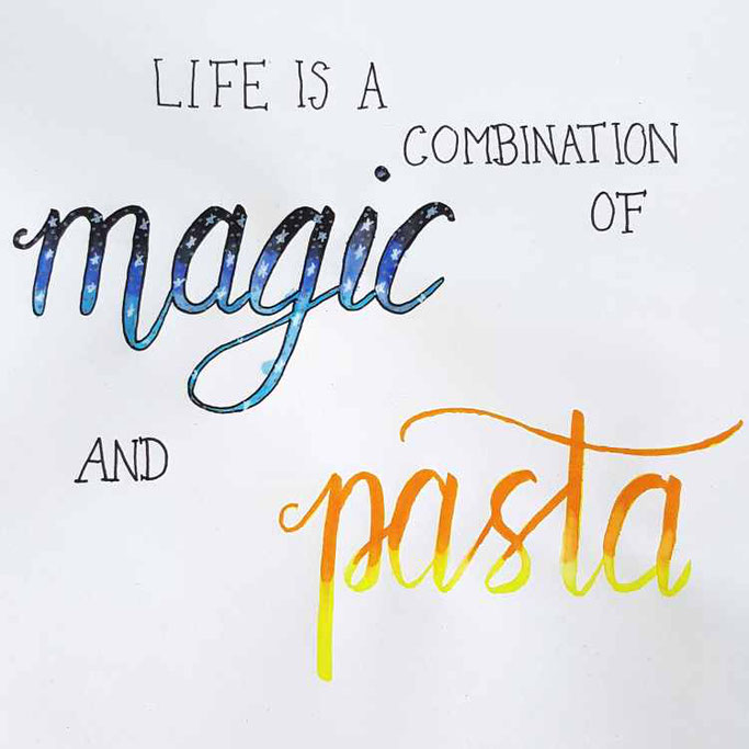12 von 12 im Dezember - Handlettering Life is a combination of magic and pasta